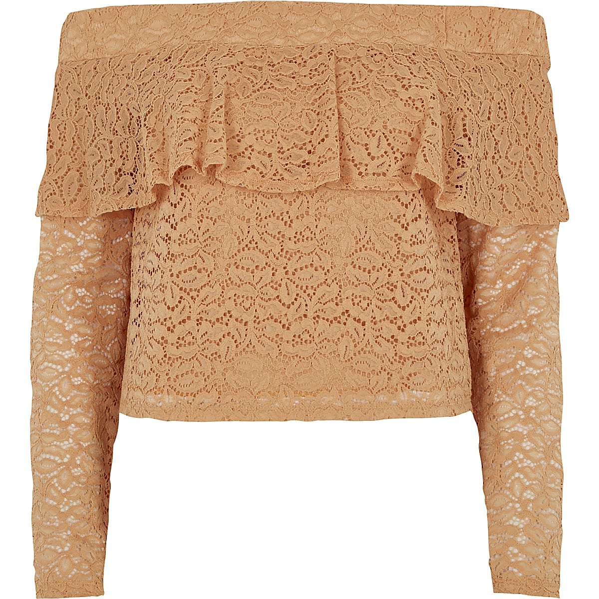 Light orange lace frill bardot top