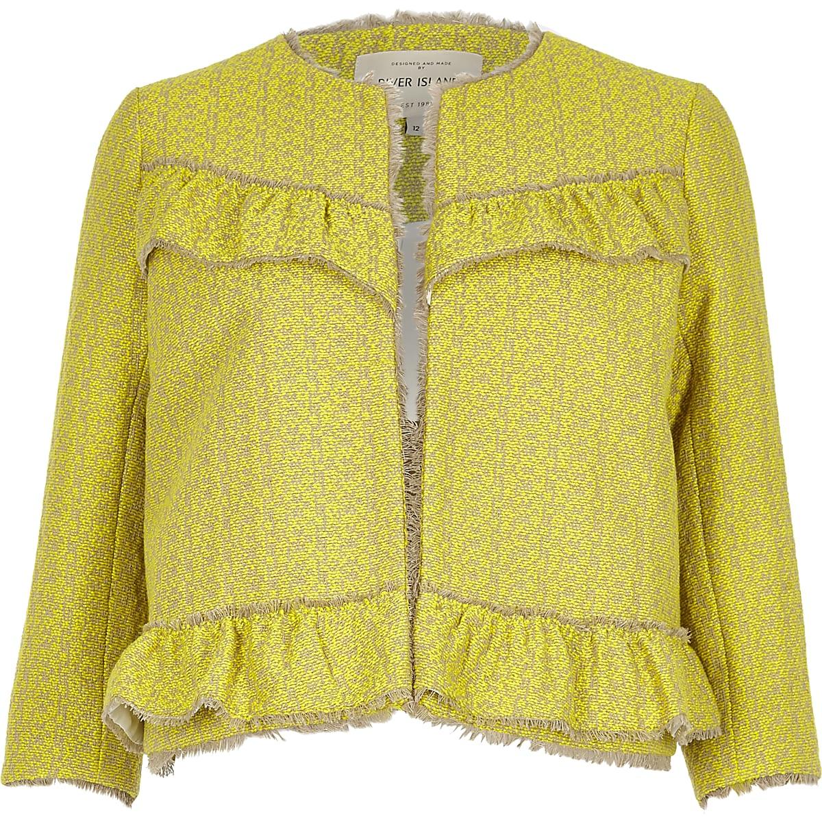 Yellow frill tweed jacket
