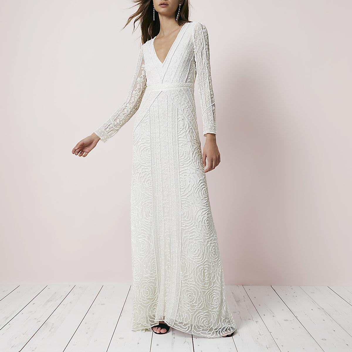 7e3ec2bd03 Cream sequin long sleeve maxi dress - Maxi Dresses - Dresses - women