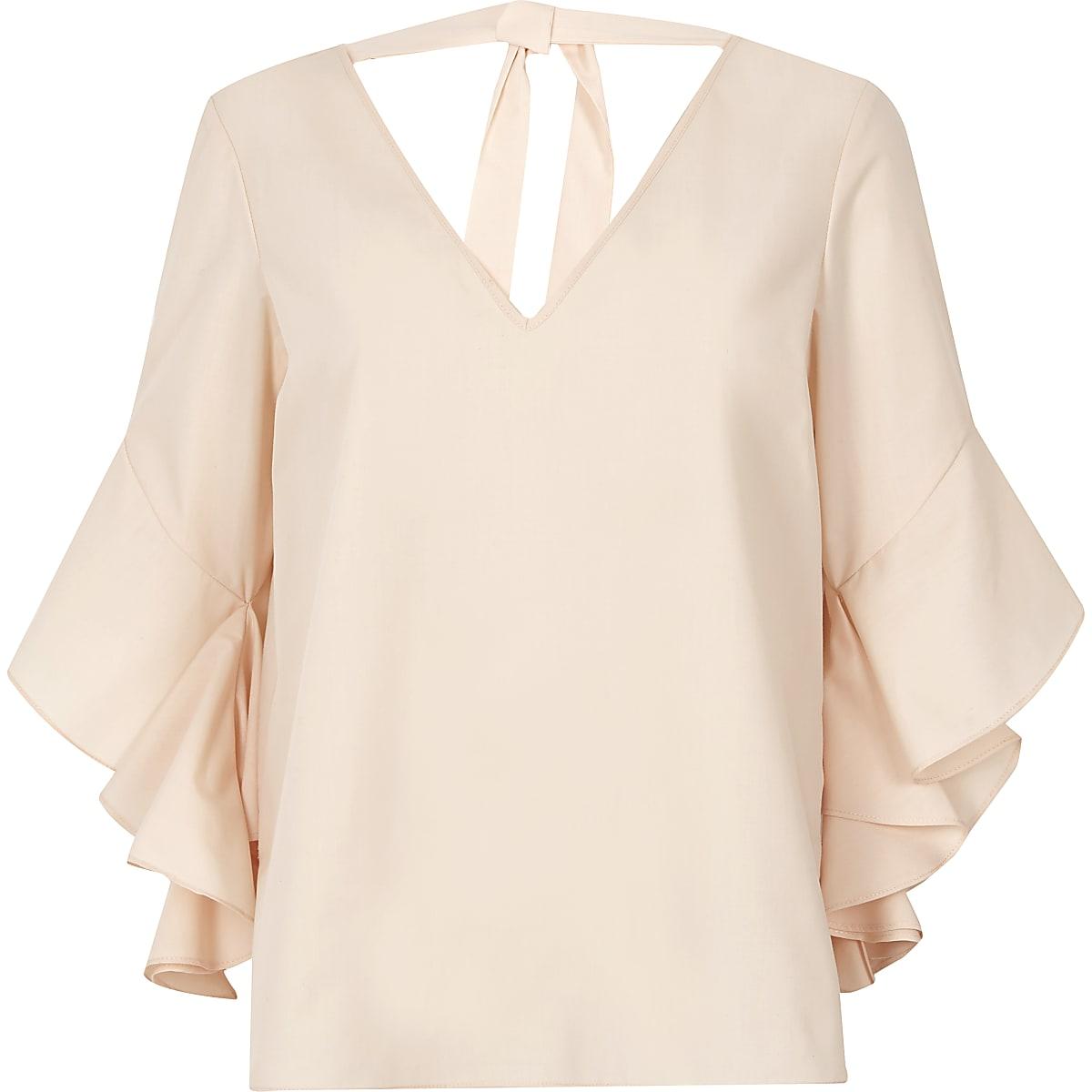 d14566f258095c Light pink frill sleeve tie back V neck top - Blouses - Tops - women