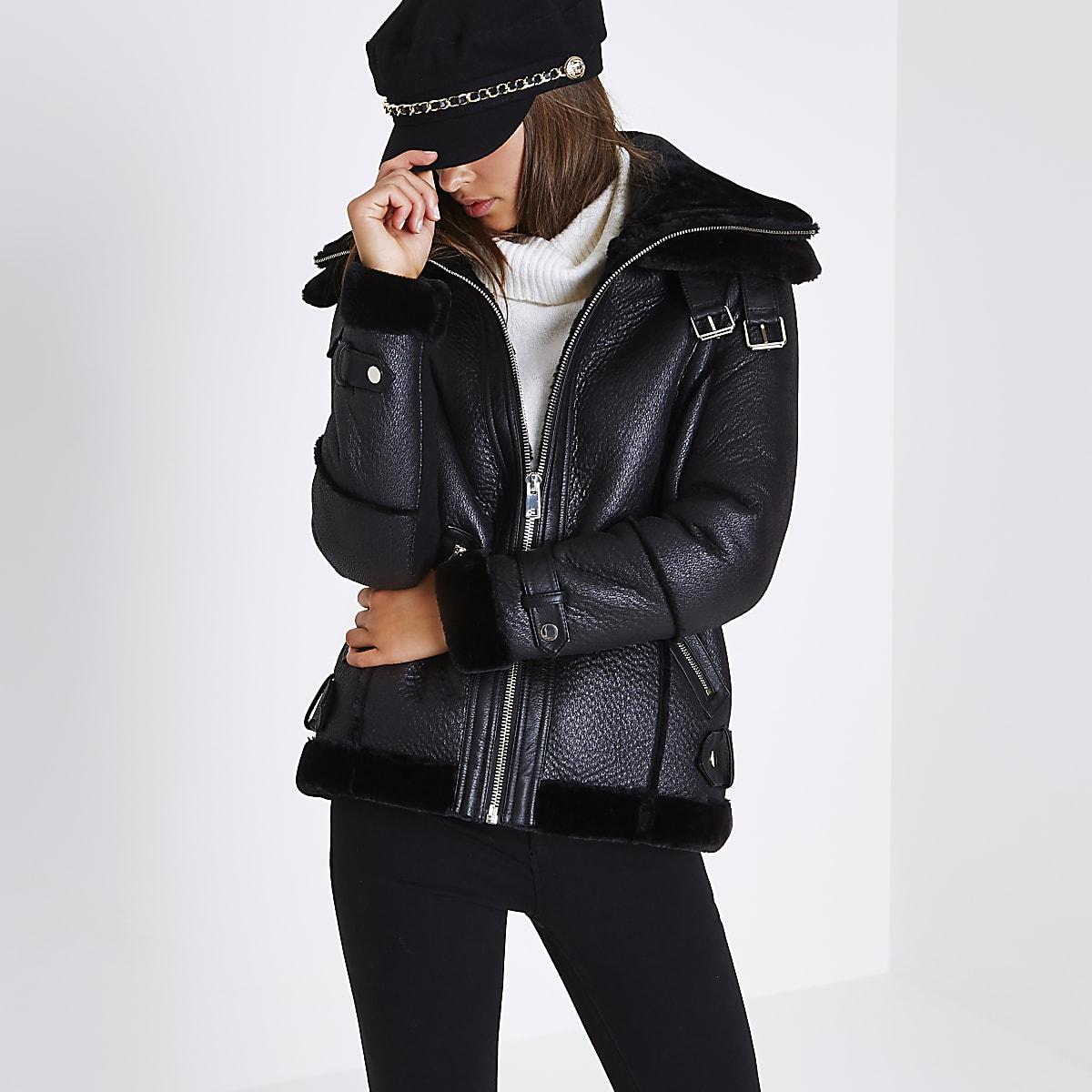 9811cab0d Black faux leather aviator jacket