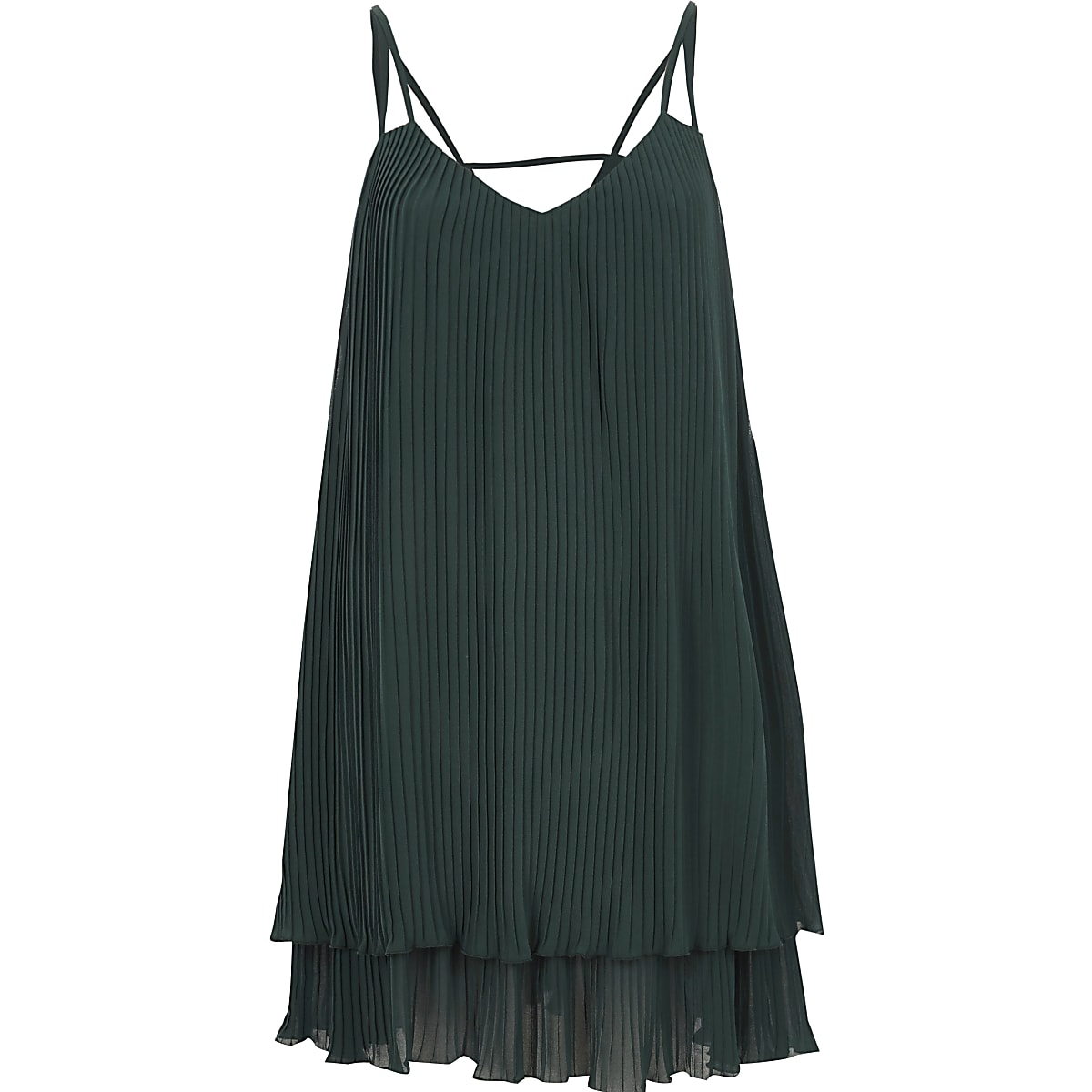 ea0ecdb16bdc Dark green pleated cami slip dress - Slip & Cami Dresses - Dresses - women