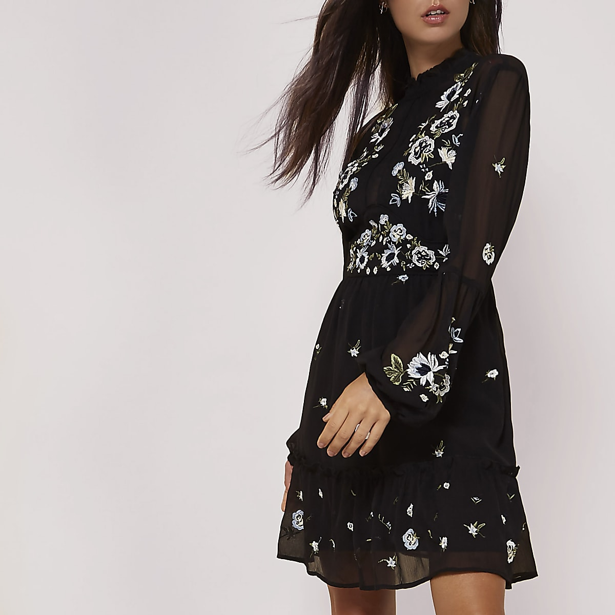 e064c8b1777d High Neck Long Sleeve Floral Skater Dress – DACC