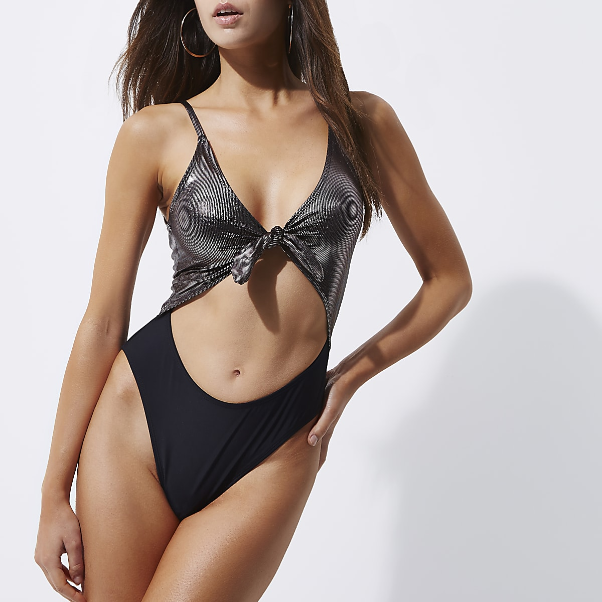 Silver foil knot front high leg swimsuit
