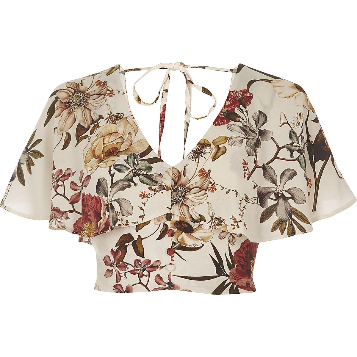 46dc767726 Cream floral print cape crop top - Crop Tops   Bralets - Tops - women