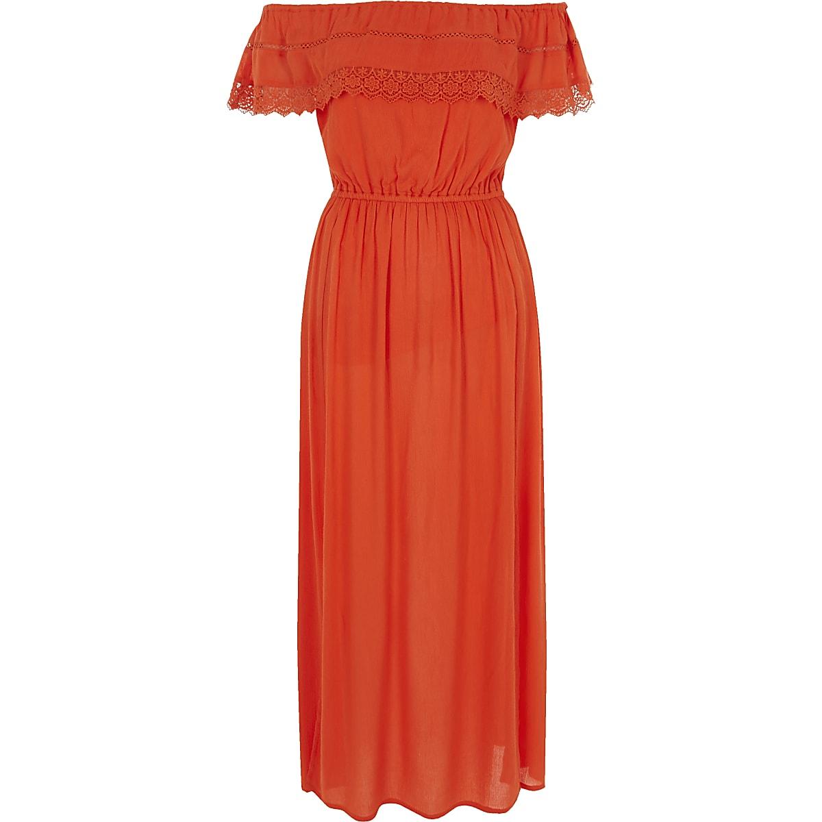 049c21d8fab271 Oranje maxi-jurk in bardotstijl met ruches - Maxi-jurken - Jurken ...