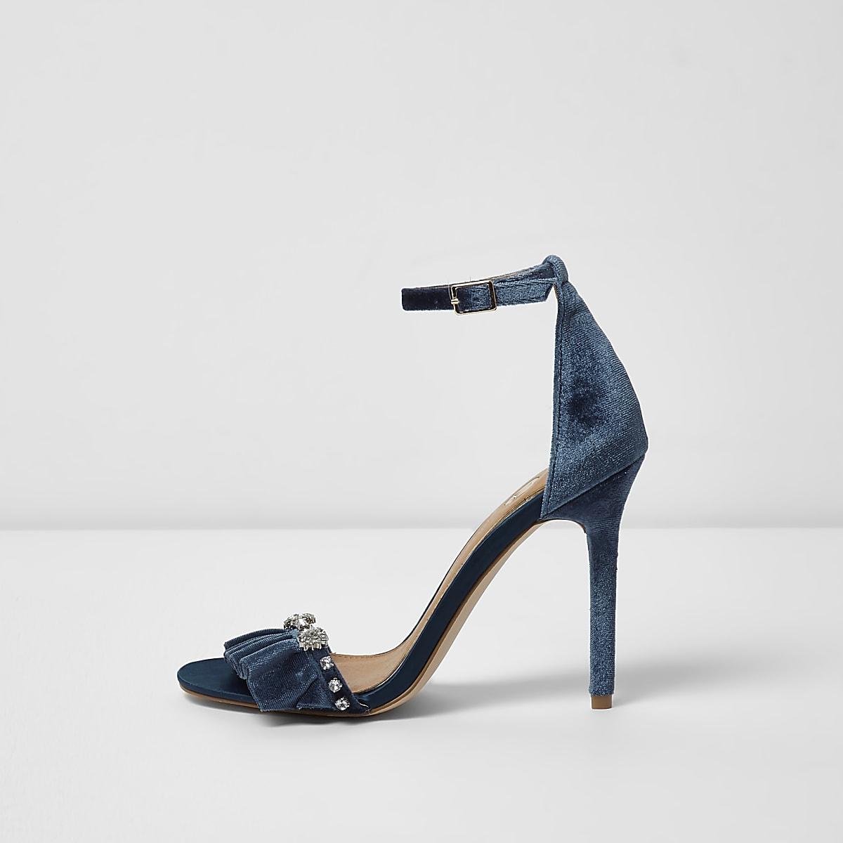 1dd418d1c Blue velvet embellished barely there sandals - Sandals - Shoes   Boots -  women