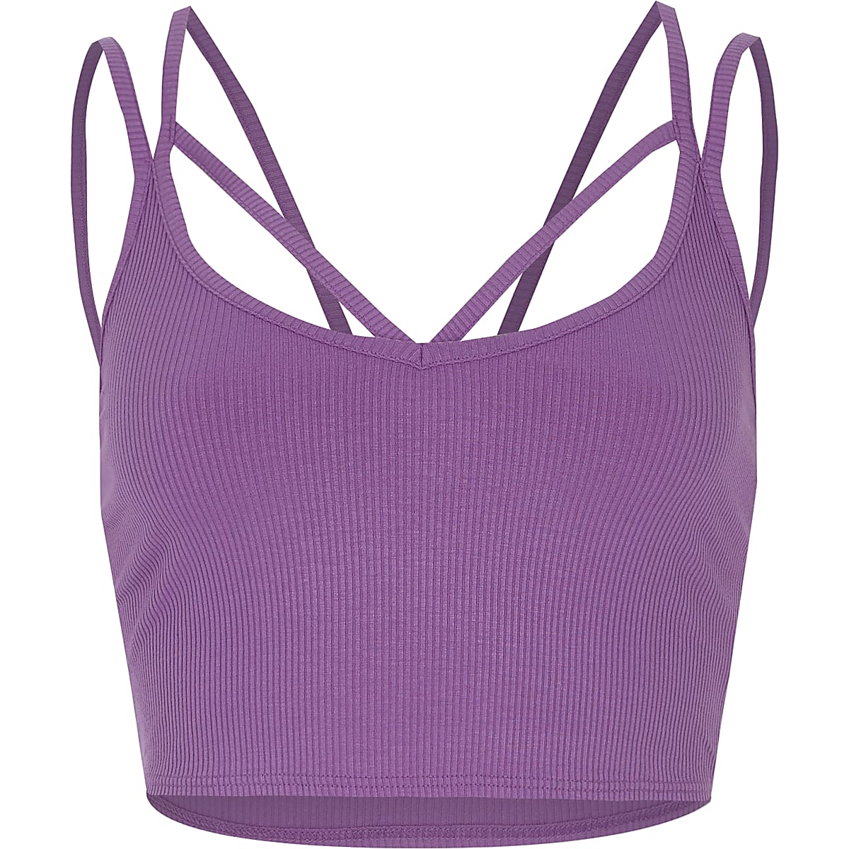 Purple strappy ribbed crop top