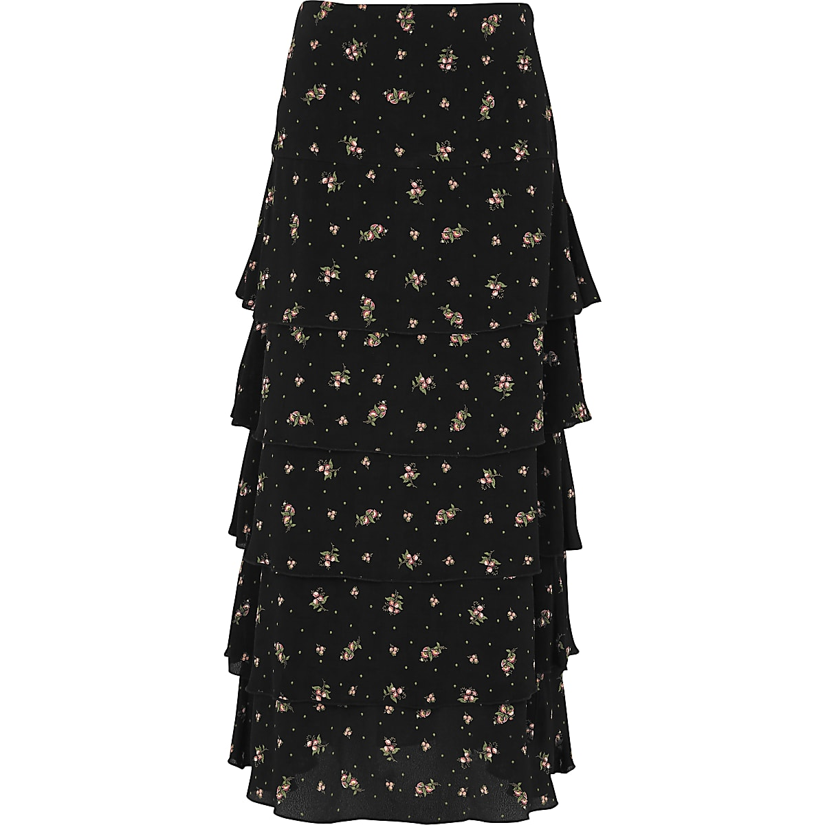 Jupe longue à petites fleurs noire à volants
