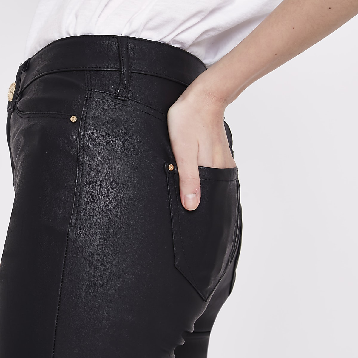 6bab6157cf85 Black faux leather Molly skinny fit trousers - Skinny Trousers ...