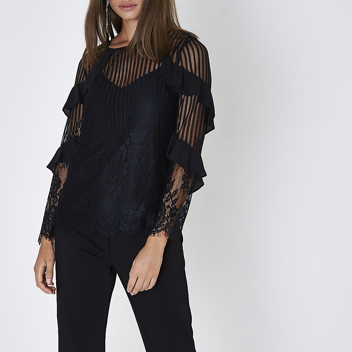 Black lace mesh long sleeve top