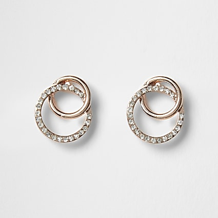 Rose gold colour diamante earrings