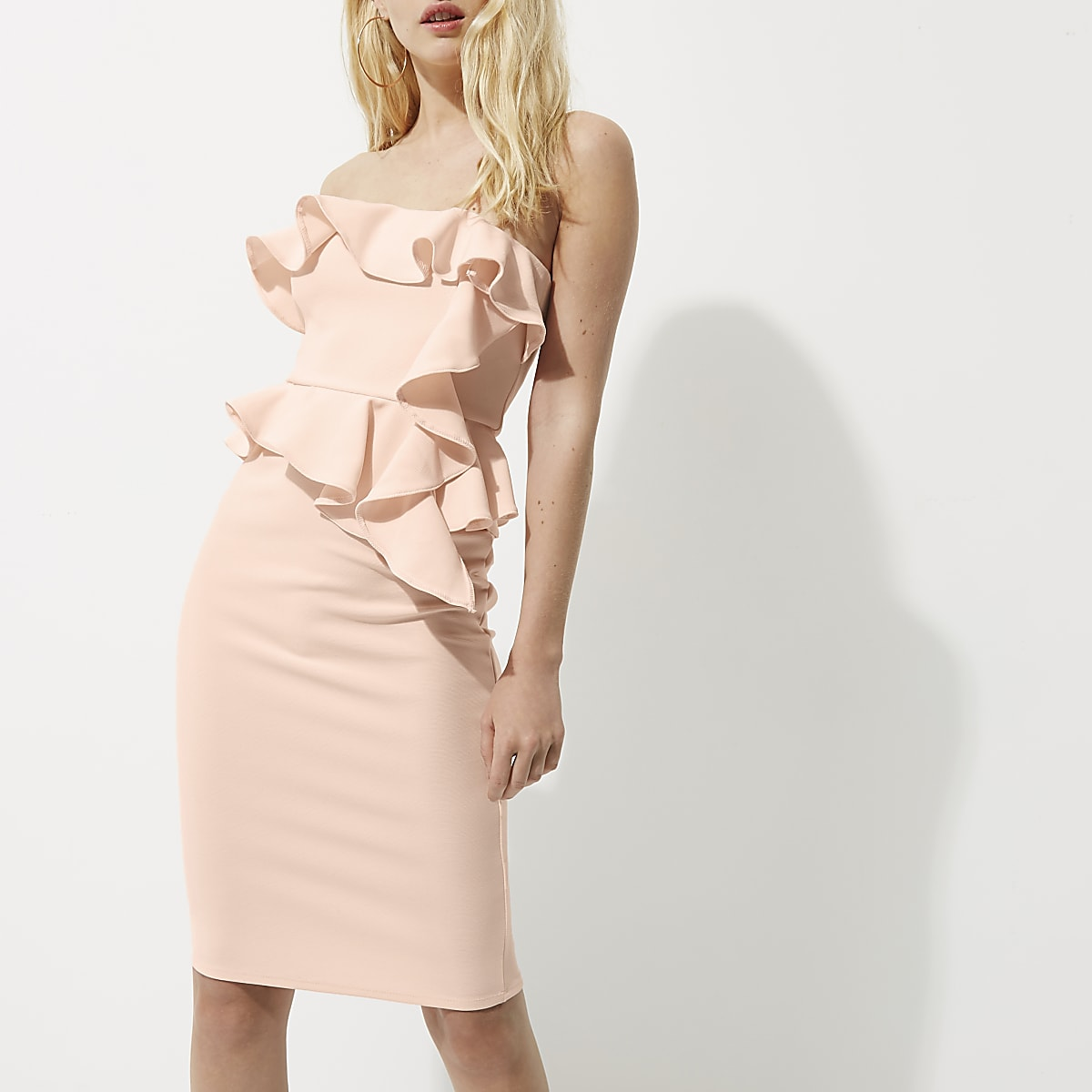 36b6f61920eb Light pink frill strapless bodycon dress - Bodycon Dresses - Dresses ...