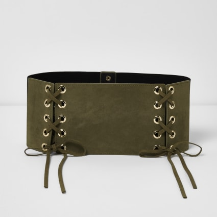 Khaki green wide double lace-up belt