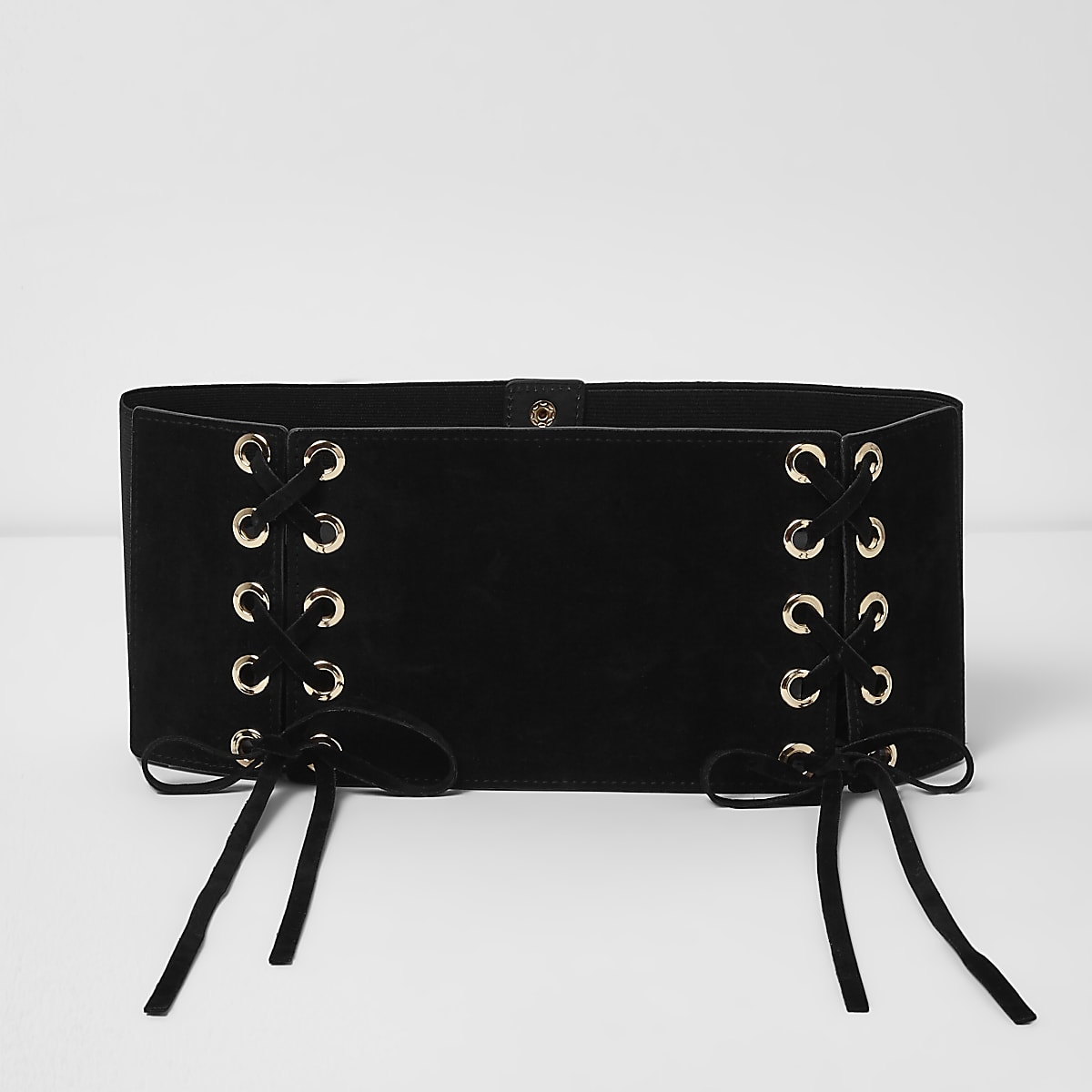 Black wide double lace-up belt