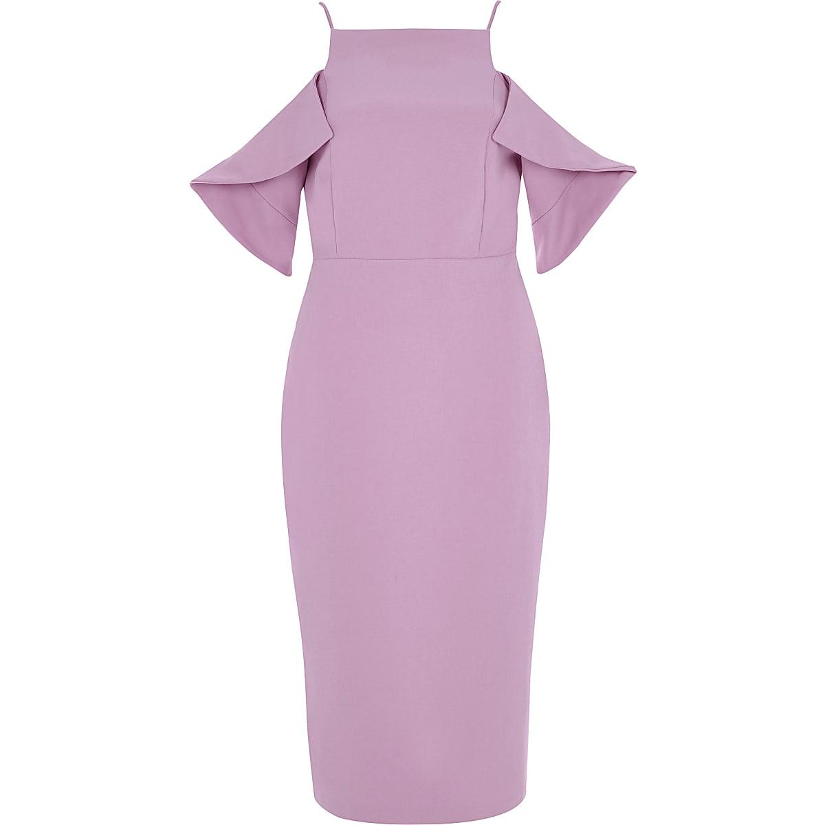 Purple cold shoulder bodycon dress