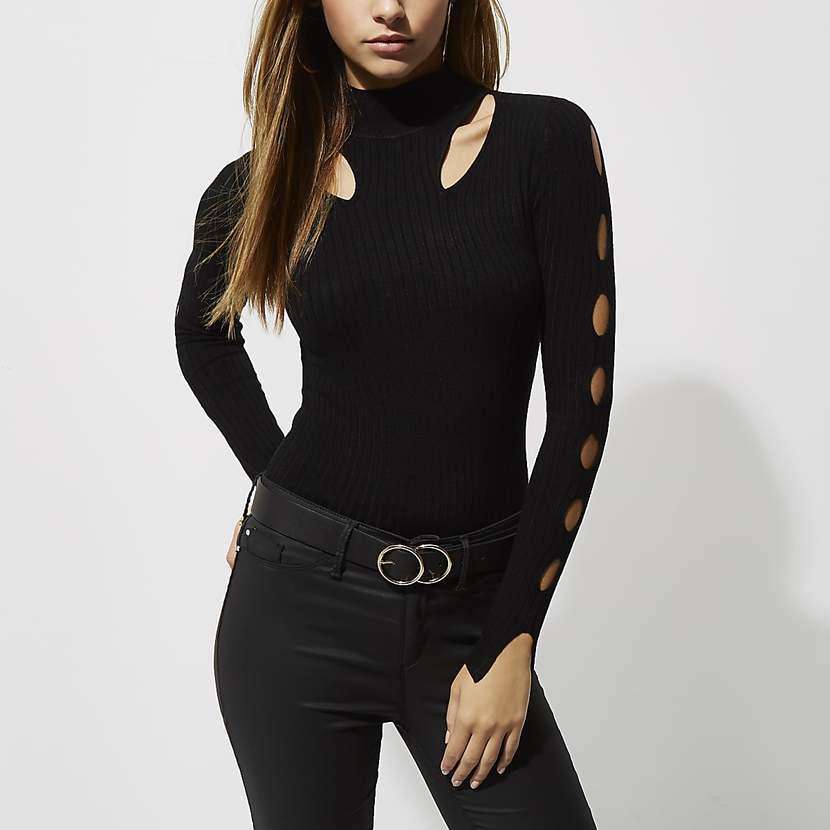 2866e889b6668 Black rib knit cut out high neck top - Knit Tops - Knitwear - women