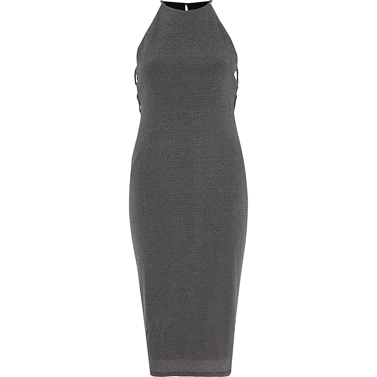 2fe35b7d860206 Zilverkleurige jersey mini-jurk met glitter - Bodyconjurken - Jurken ...