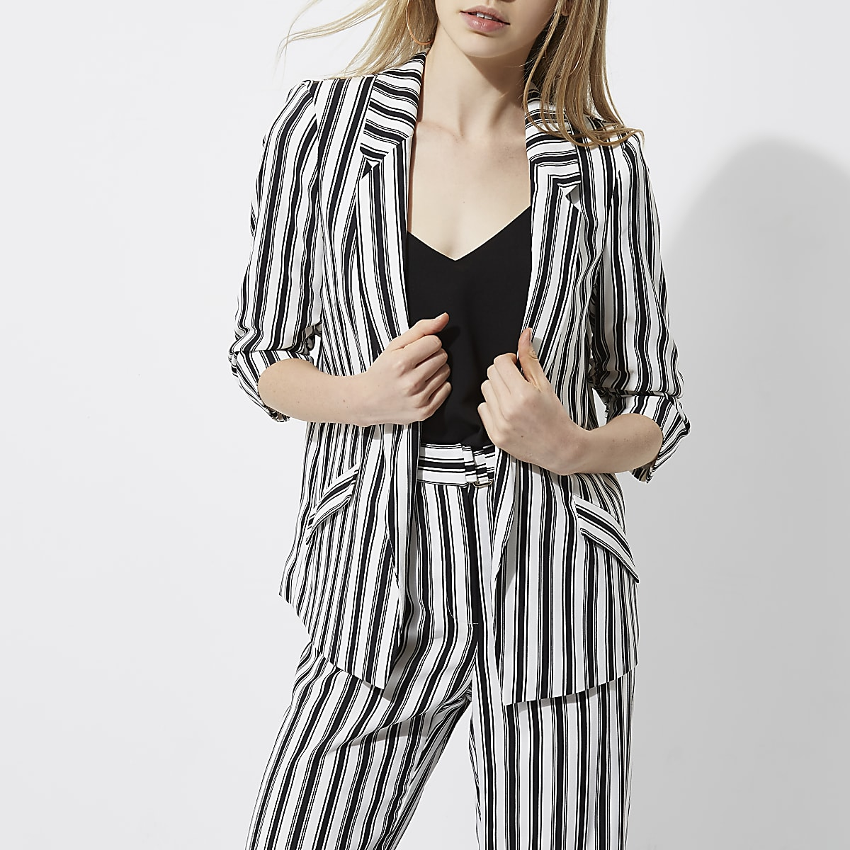 high fashion preview of new release Black mono stripe ruched sleeve blazer