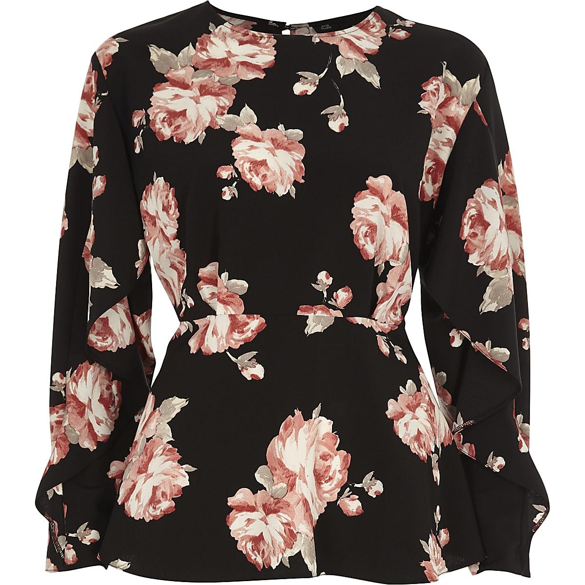 7c1d1b22fcf0bc Black floral frill sleeve blouse - Blouses - Tops - women