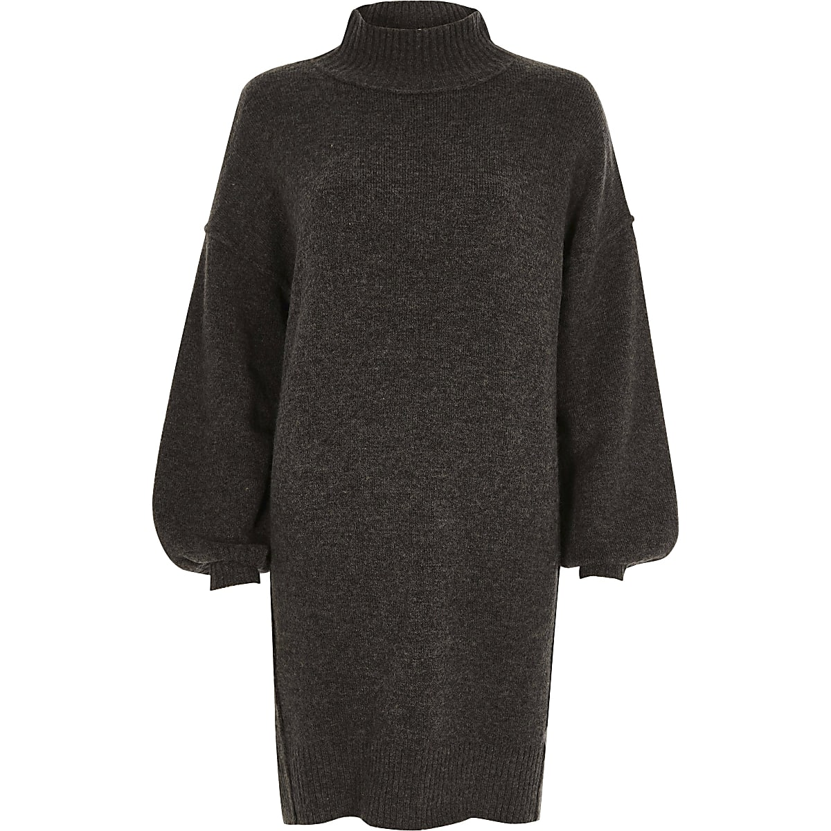 b0b03b0ecd7 Robe pull en maille gris foncé à manches bouffantes - Robes trapèze ...