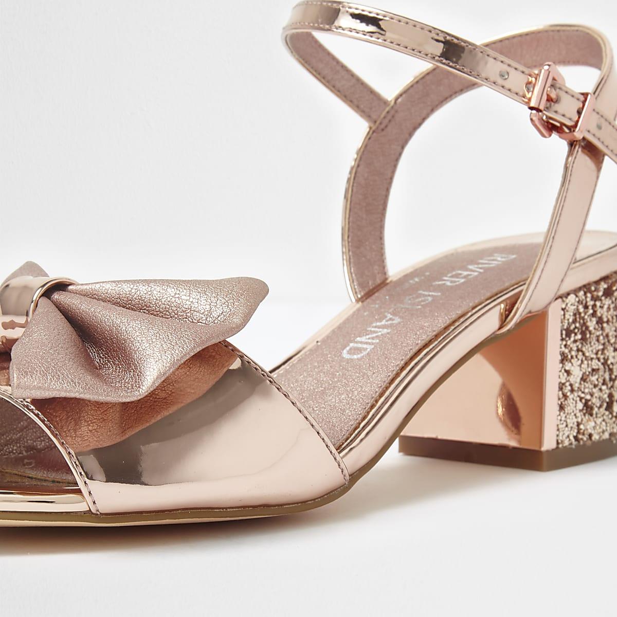 232459e6136 Gold bow wide fit glitter block heel sandals - Sandals - Shoes ...