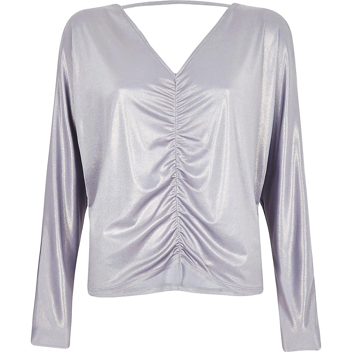 Purple metallic ruched batwing top