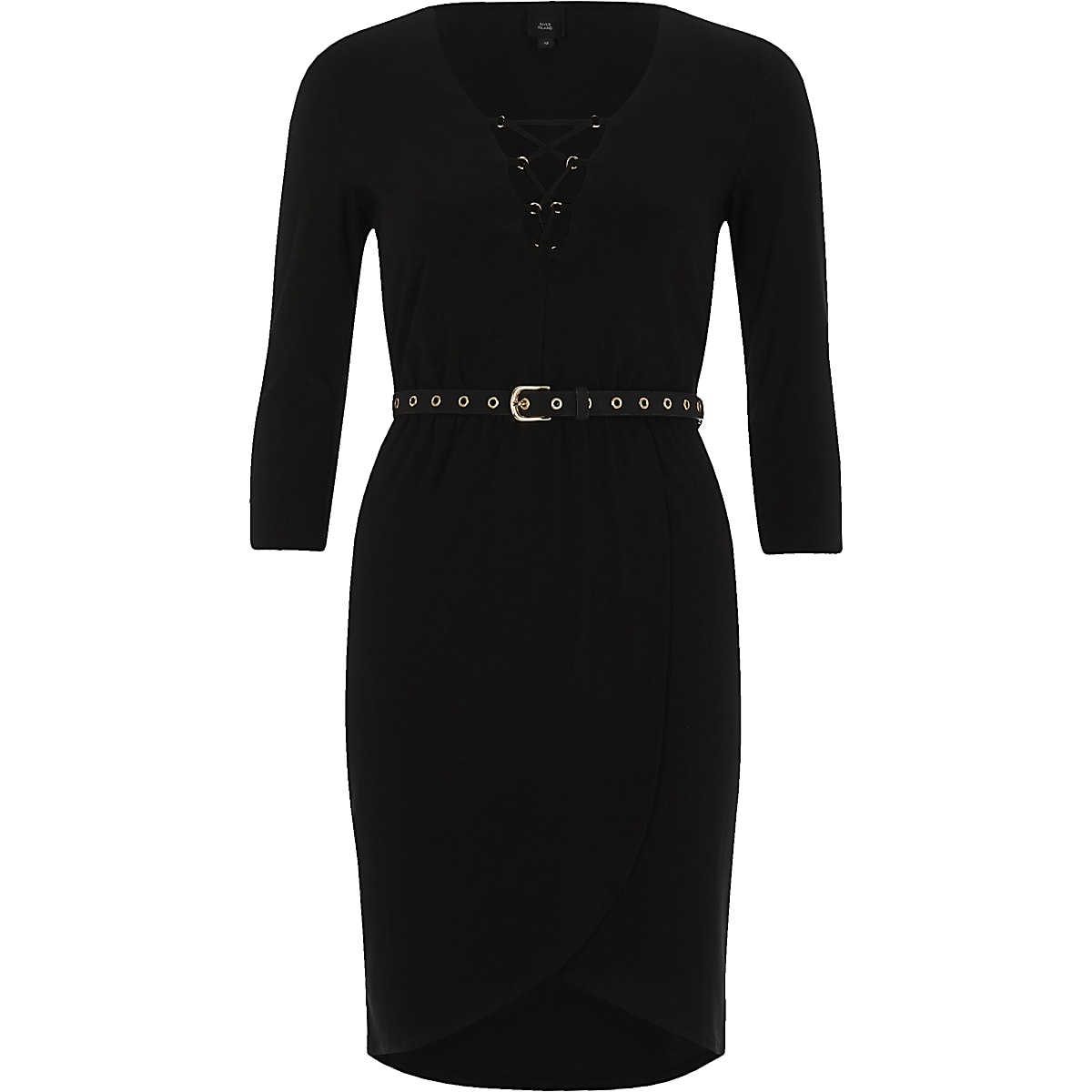 Black lace-up front belted bodycon dress