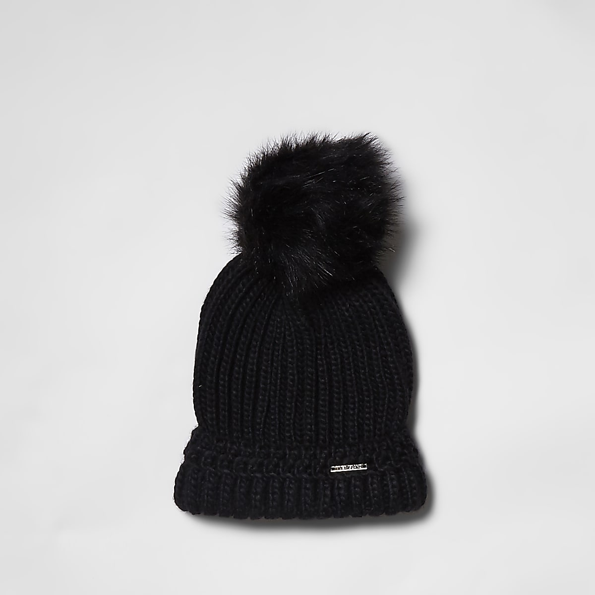 Black faux fur bobble beanie hat
