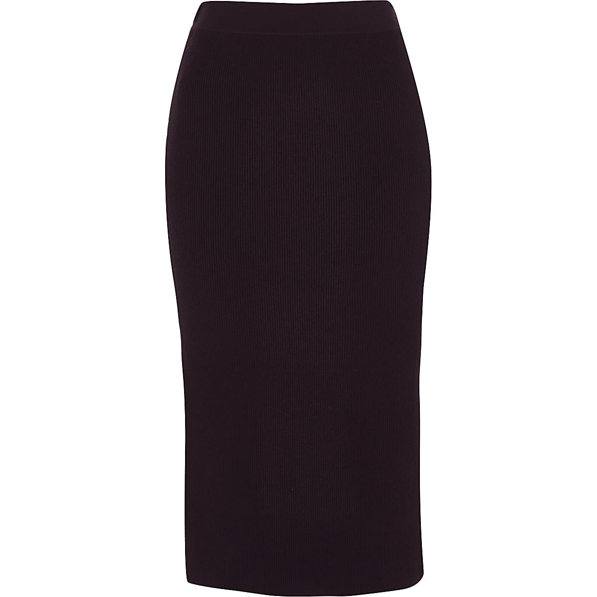 Purple ribbed pencil skirt