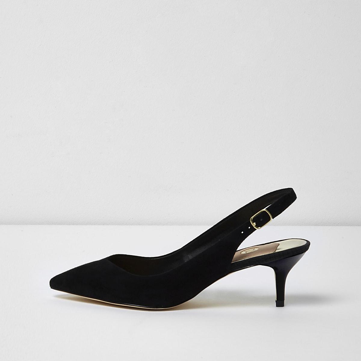 d73d70eec83ec Black slingback kitten heel court shoes Black slingback kitten heel court  shoes ...