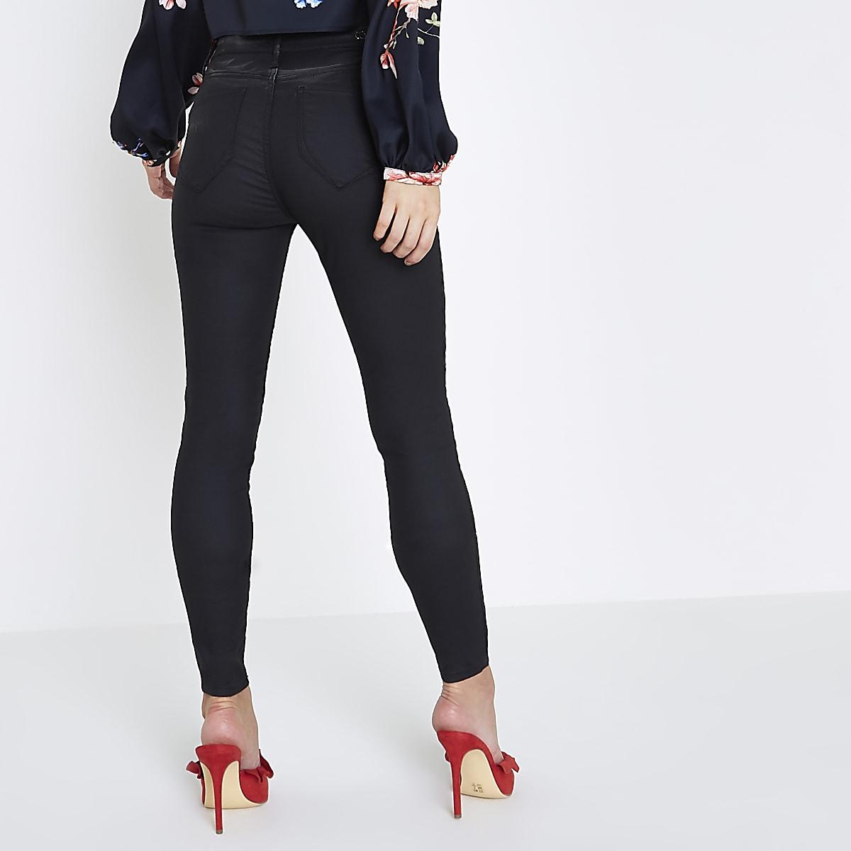 44b67829b3948 Petite black coated Molly skinny jeggings - Jeggings - Jeans - women