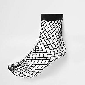 Socquettes résille en maille large noires