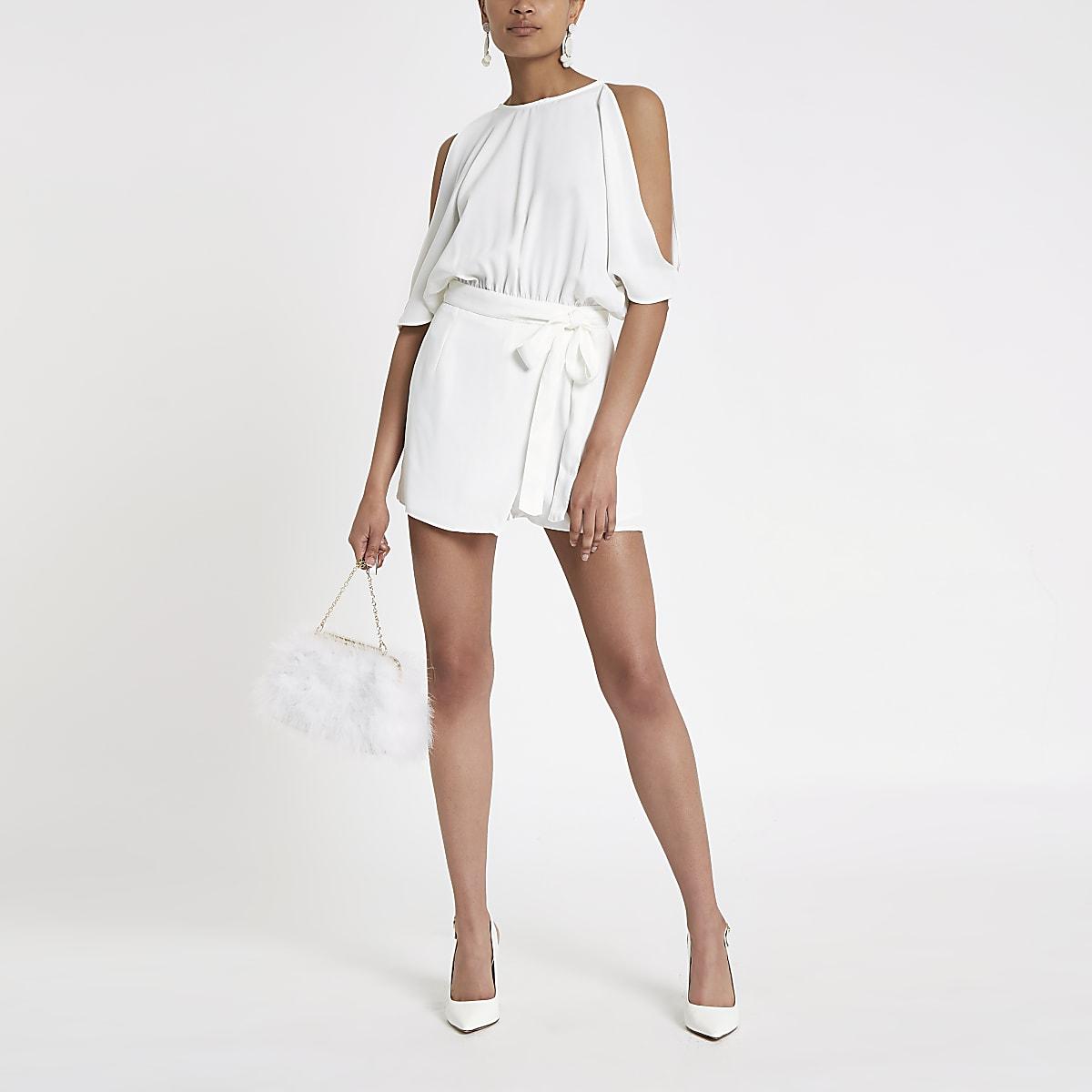 White cold shoulder wrap playsuit