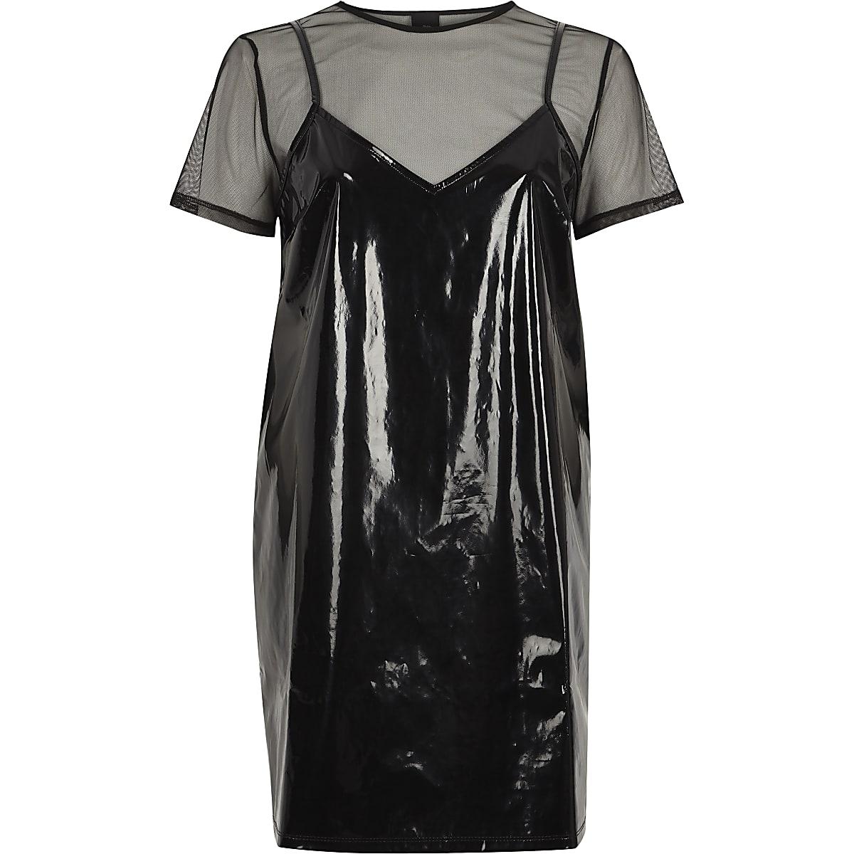 67af46c1ca1 Black vinyl and mesh T-shirt dress - T-Shirt Dresses - Dresses - women