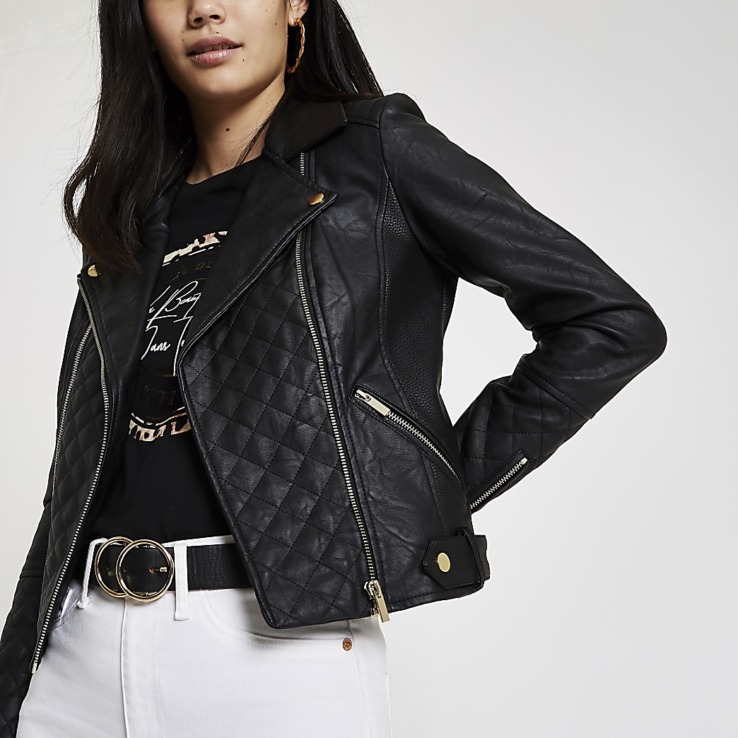 Black quilted faux leather biker jacket