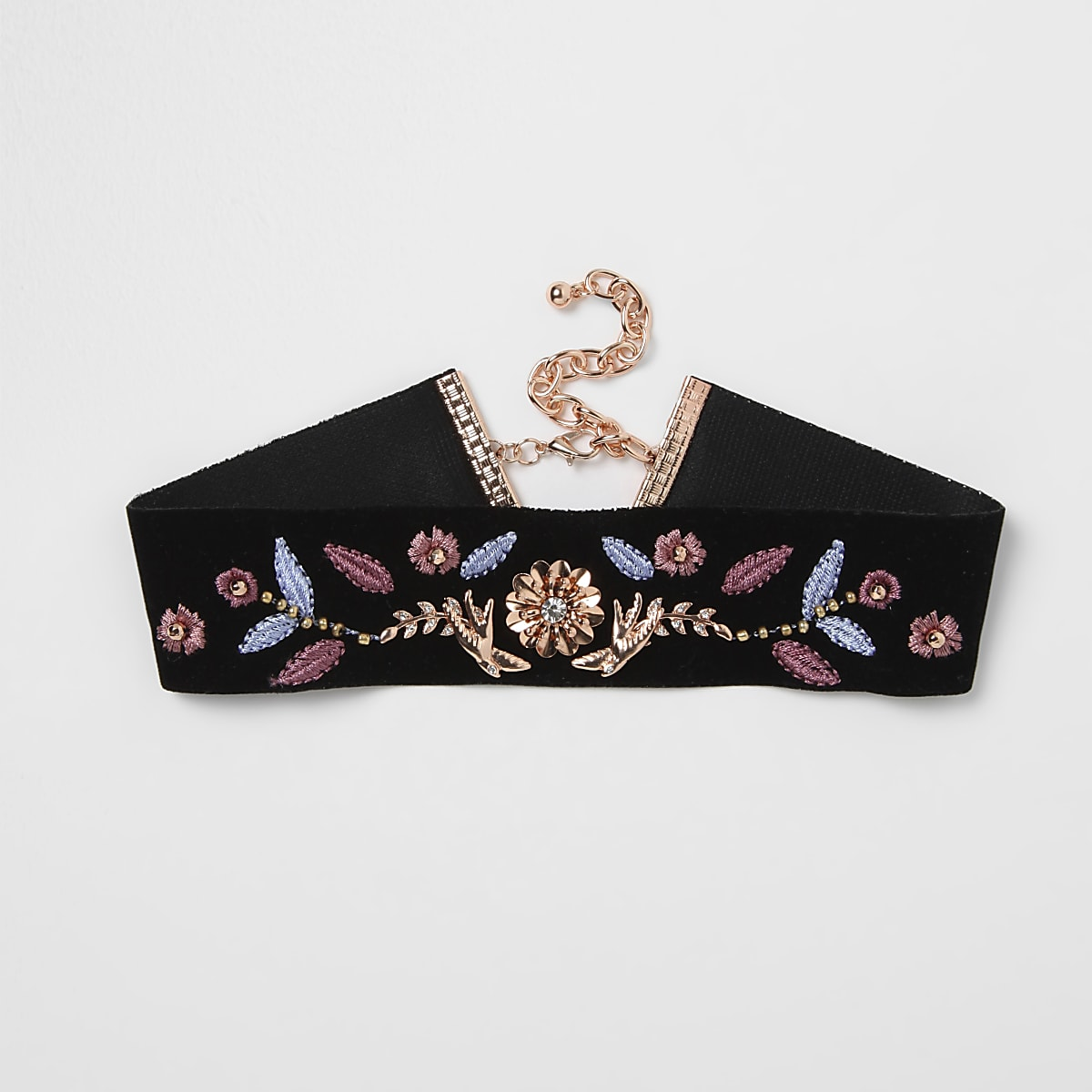 Black swallow embroidered velvet choker