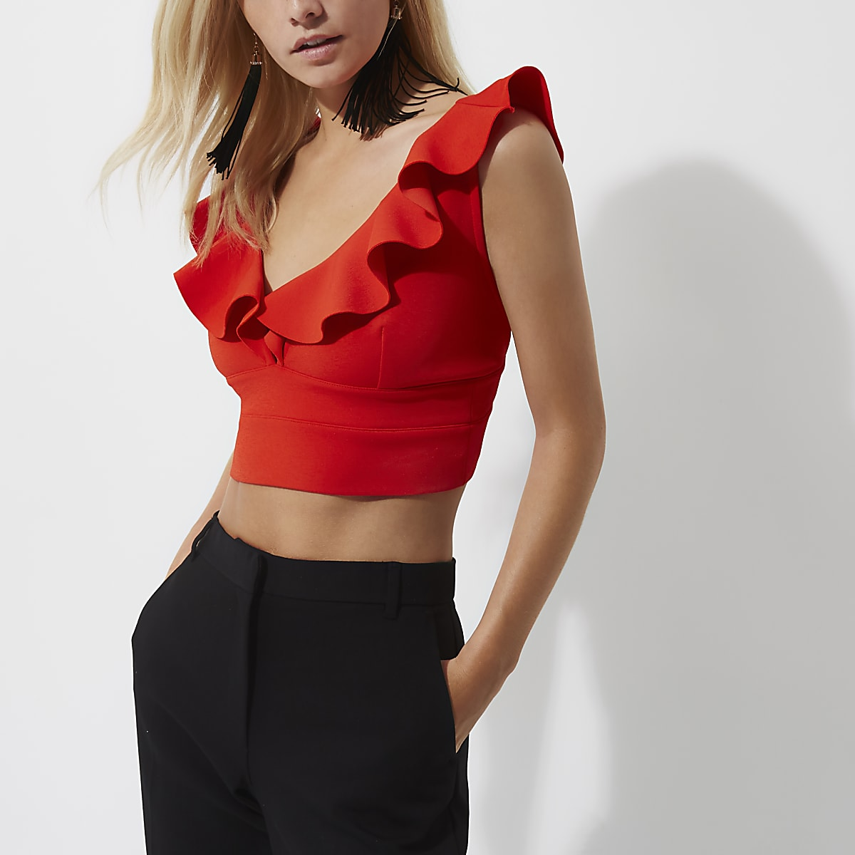 48f2278d15b Petite red frill bralet - Crop Tops   Bralets - Tops - women