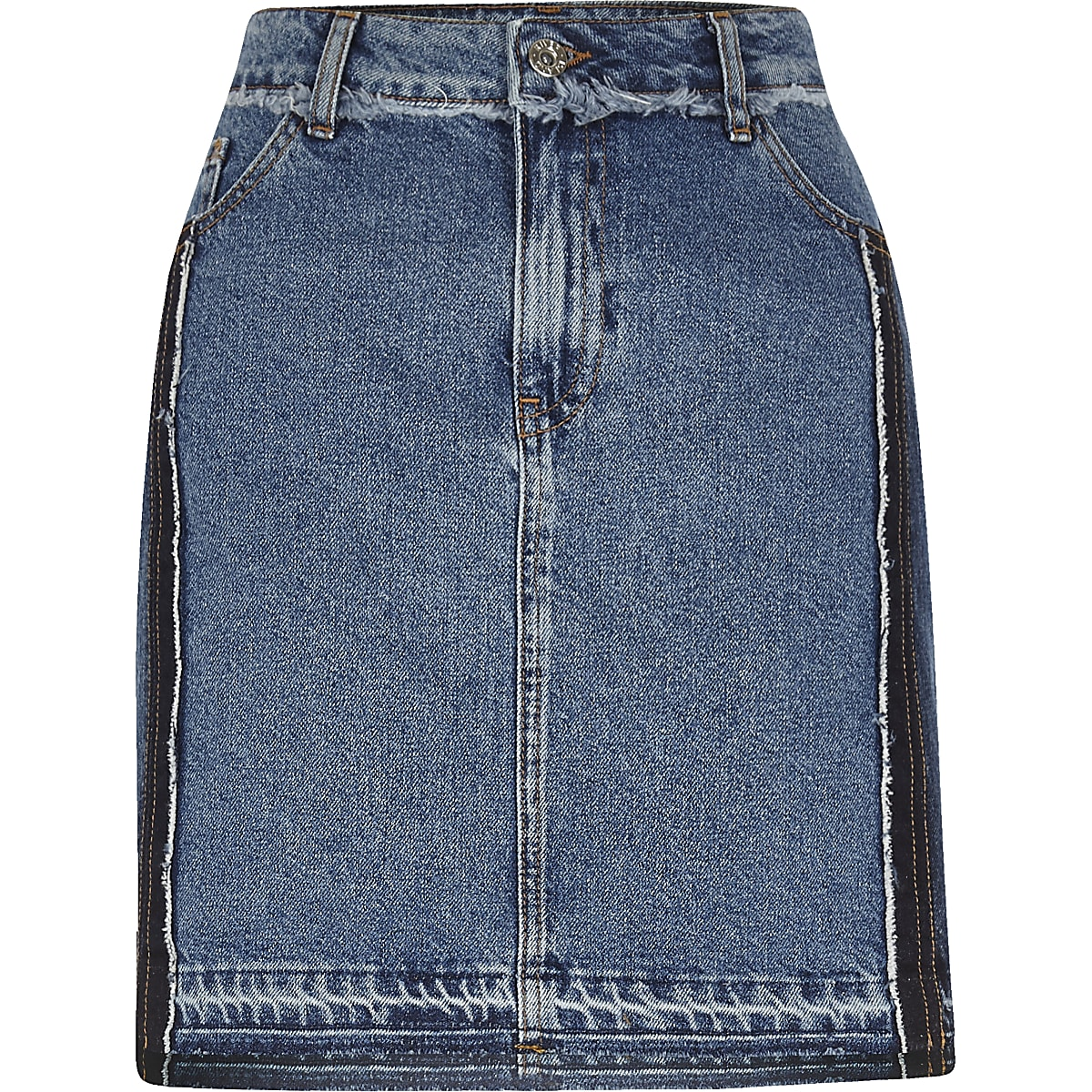 Mid authentic blue frayed denim skirt
