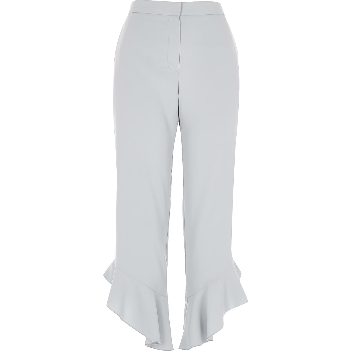 Blue frill hem straight leg cropped pants