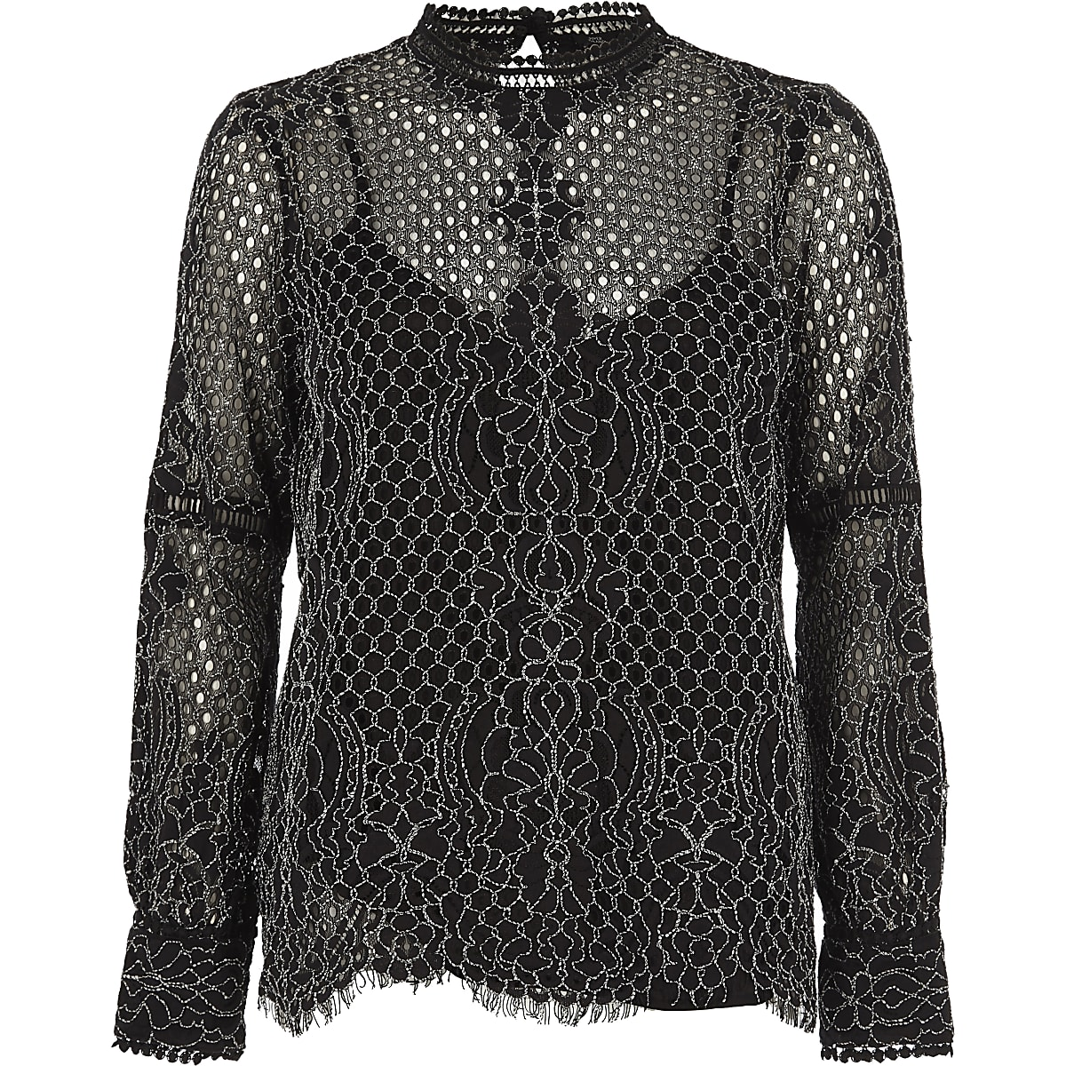 c792f25dc8ff6c Black lace high neck long sleeve top - Blouses - Tops - women