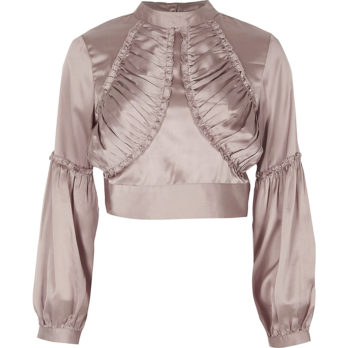 Pink satin ruffle front high neck crop top