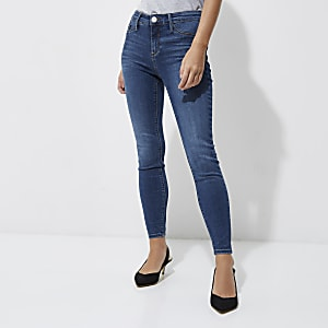 Petite mid blue wash Molly skinny jeggings
