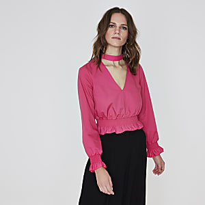 Bright pink shirred frill waist choker top