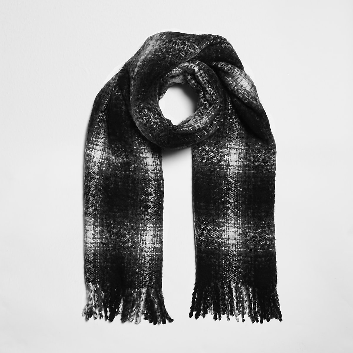 Zwarte geruite sjaal met schaduwprint