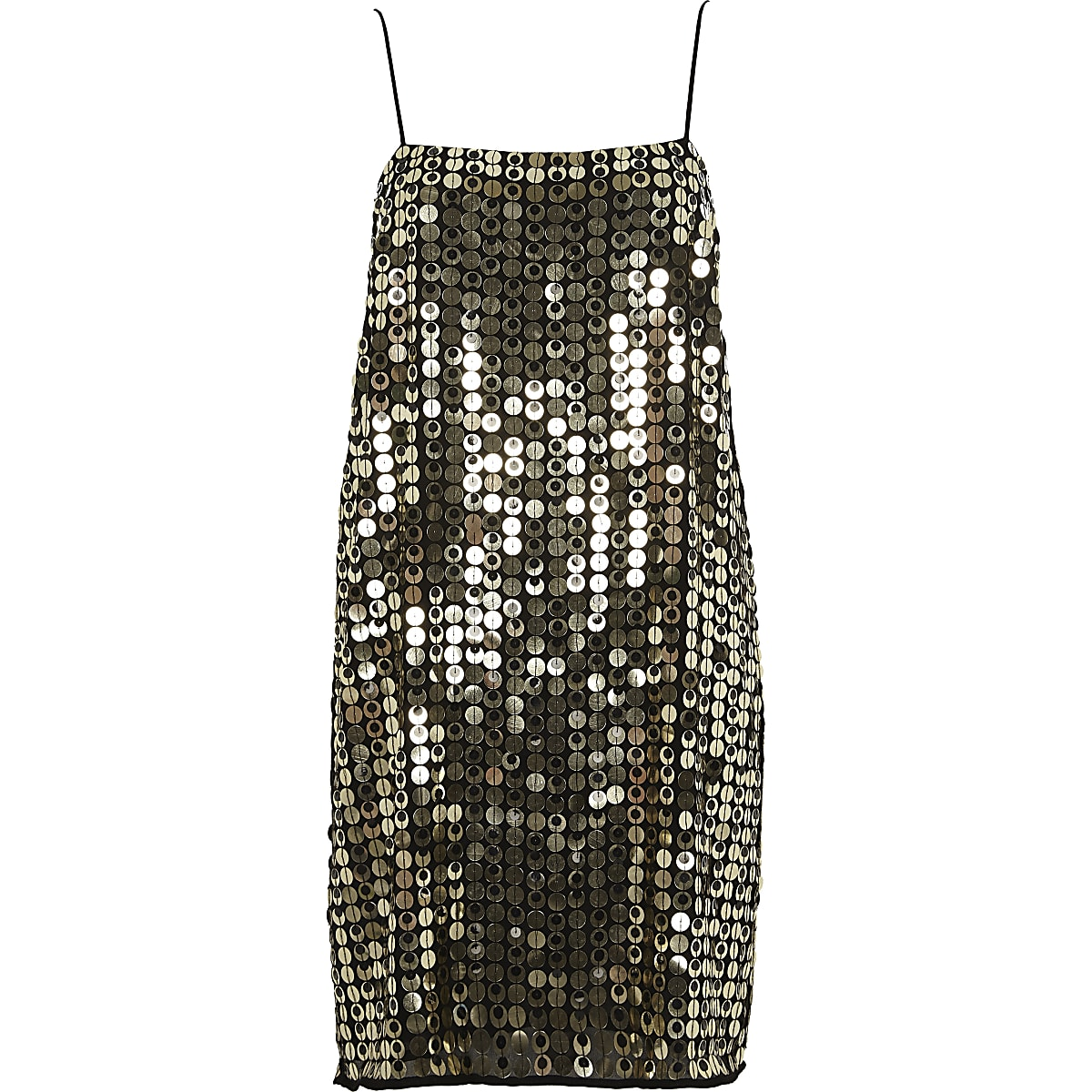 6ff8092878c0 Gold metallic disk sequin slip dress - Slip   Cami Dresses - Dresses ...