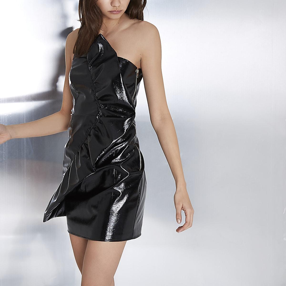 Black vinyl frill one shoulder bodycon dress