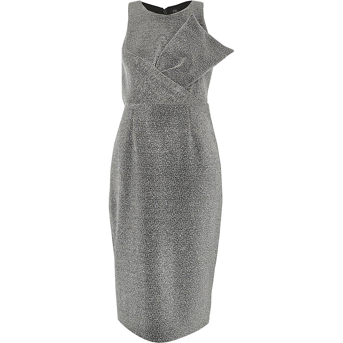 18c5388a Silver metallic glitter bow bodycon dress Silver metallic glitter bow bodycon  dress ...