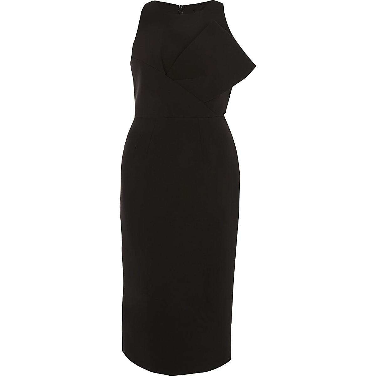 Black bow front sleeveless bodycon dress