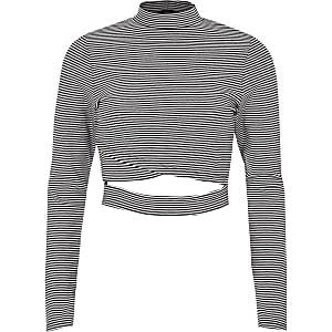 Black stripe wrap front long sleeve top